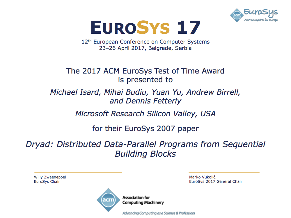 EuroSys Test of Time Award